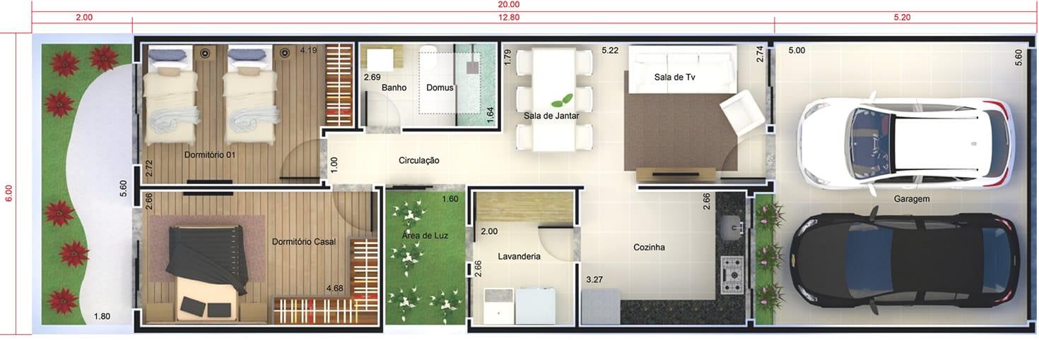 Planta de casa pequena e moderna projetos de casas for Casa moderna 7x20