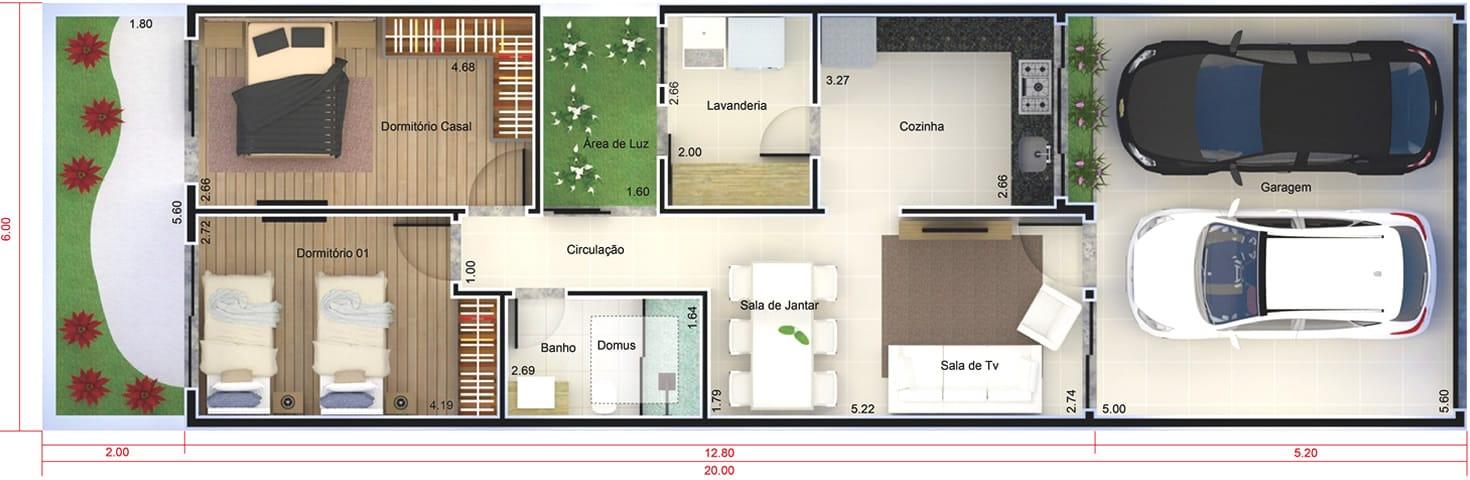 Planta de casa pequena e moderna - Projetos de Casas, Modelos de Casas
