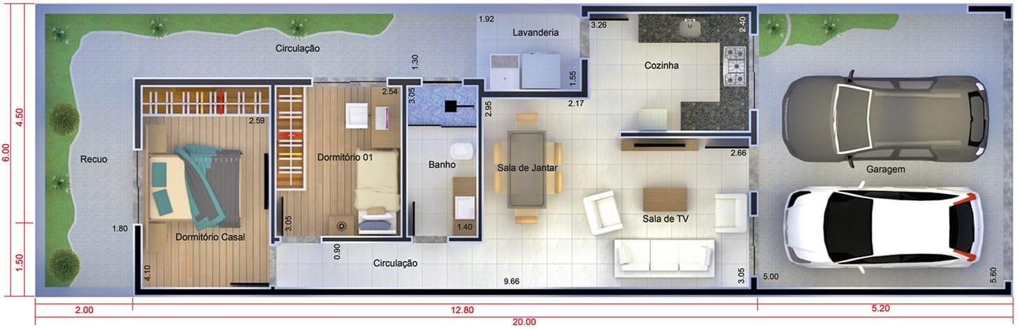 Planta de casa com port o fechado projetos de casas for Planos de casas 6x20