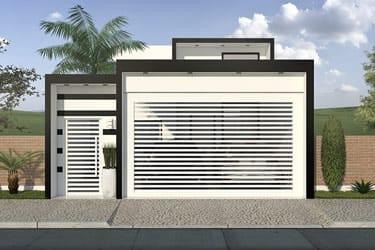 Planta de casa com fachada preto e branco