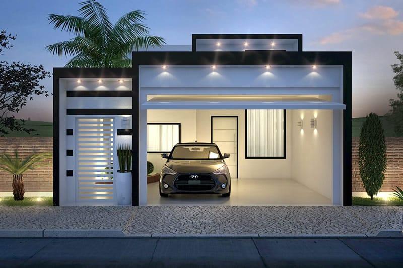 Planta de casa com fachada preto e branco projetos de for Decoraciones para casas chicas
