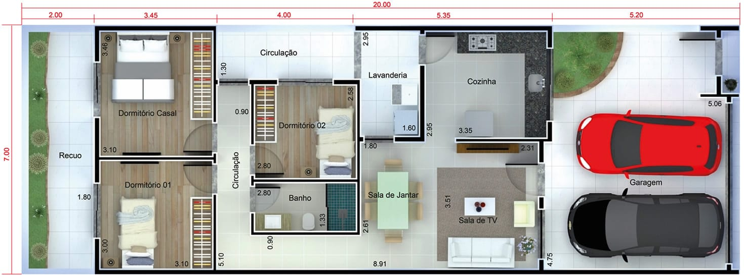Planta de casa com fachada preto e branco projetos de for Casa moderna 7x20