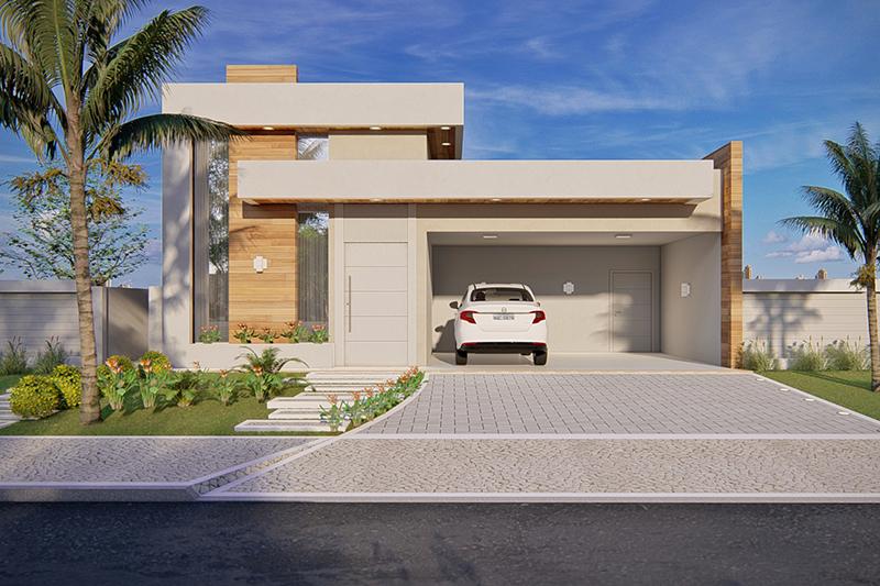 Projeto de casa t rrea com 3 quartos projetos de casas for Modelo de casa x dentro