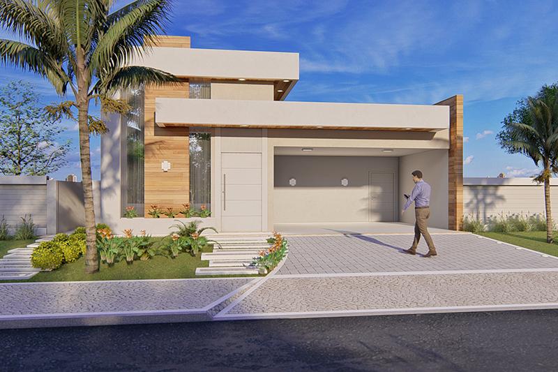 Projeto de casa t rrea com 3 quartos projetos de casas for Casa moderna 64