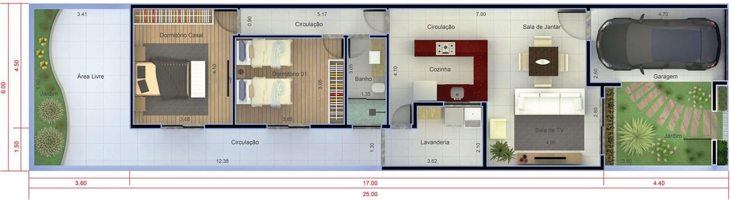 Planta de casa com 2 quartos. Planta para terreno 6x25