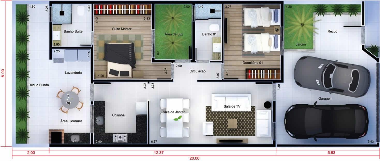 Planta de casa com p direito alto de vidro projetos de for Casa moderna 8x20