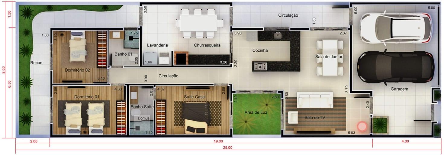 Planta de casa pequena com 3 quartos. Planta para terreno 8x25
