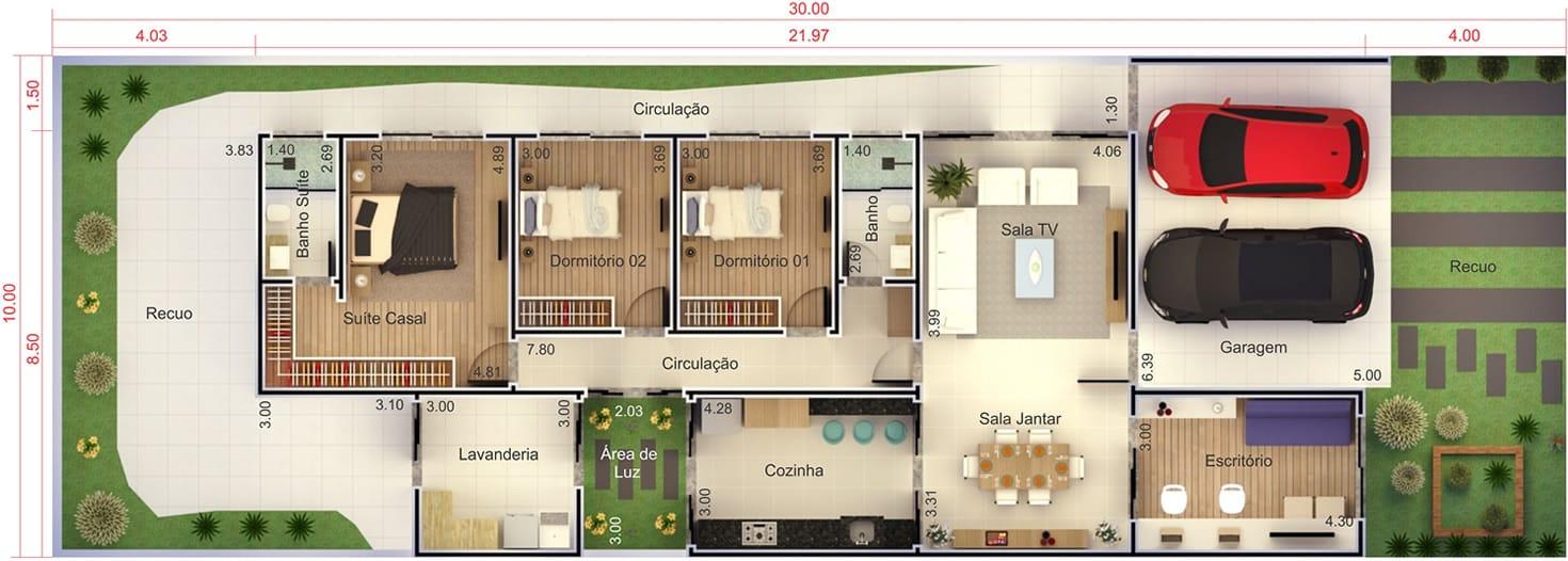 Planta de casa para condomínio. Planta para terreno 10x30