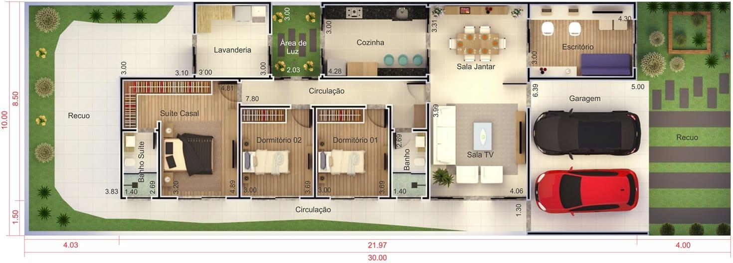 Planta de casa para condom nio projetos de casas for Casa moderna 7x20