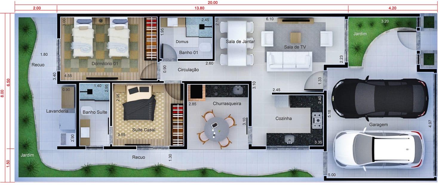 Planta de casa com cozinha na frente. Planta para terreno 8x20