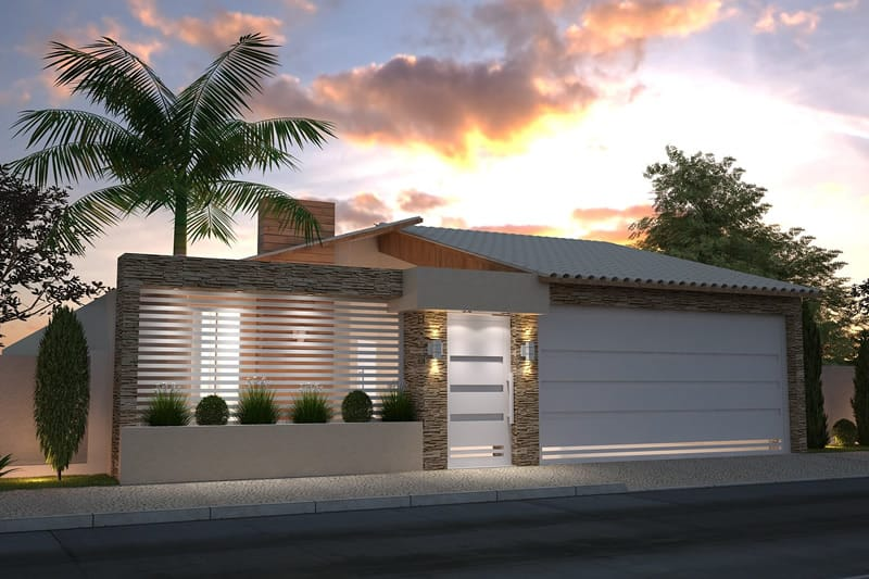 Fachada de casa com muro vazado