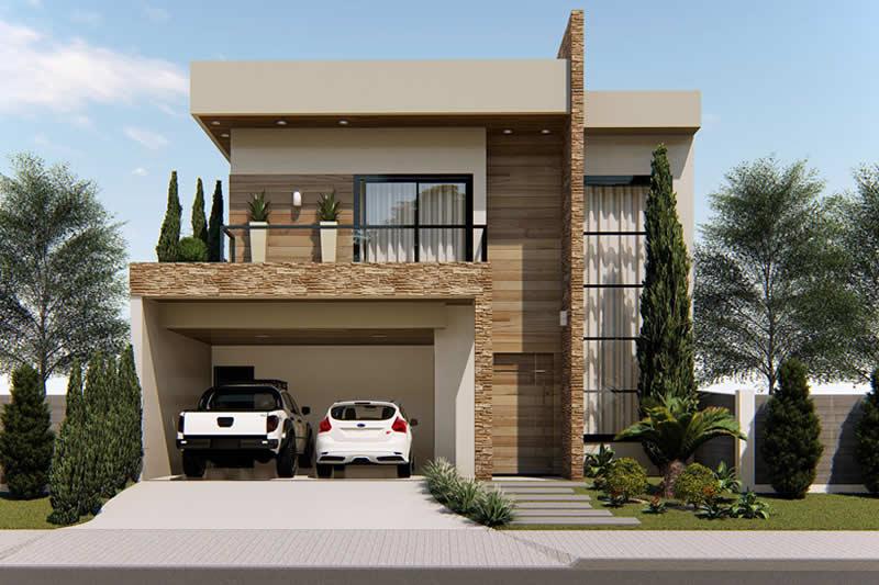 Sobrado com fachada moderna projetos de casas modelos for Fachada minimalista una planta