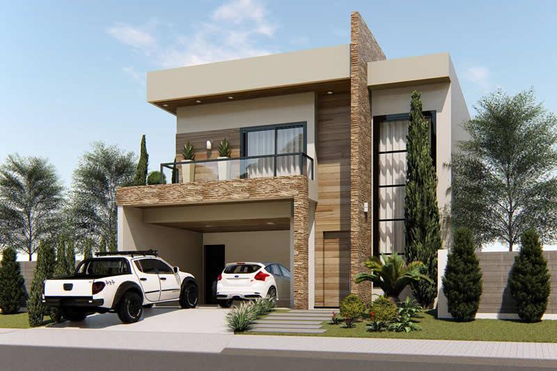 Sobrado com fachada moderna projetos de casas modelos Fachadas para casas de dos plantas