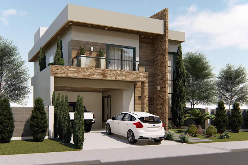 Sobrado com fachada moderna projetos de casas modelos for Fachadas de casas modernas de 2 quartos