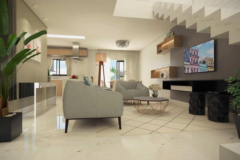 Sala de TV com cores claras
