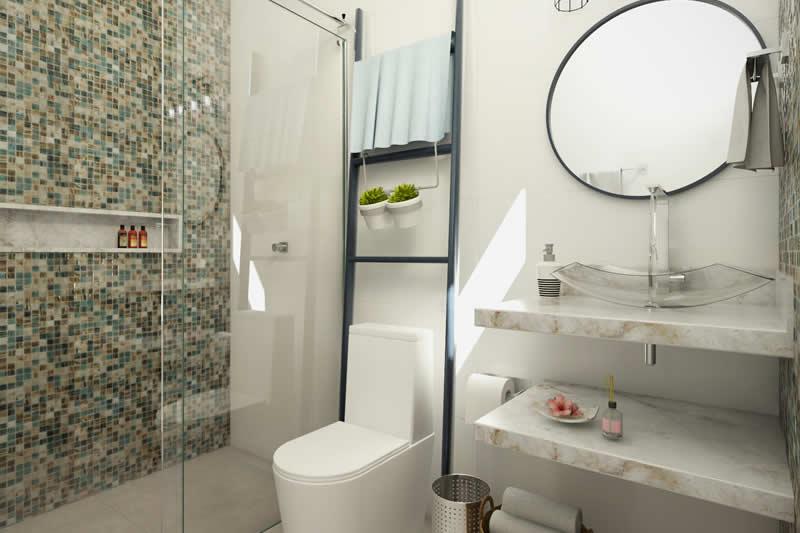 Banheiro com pastilha e espelho