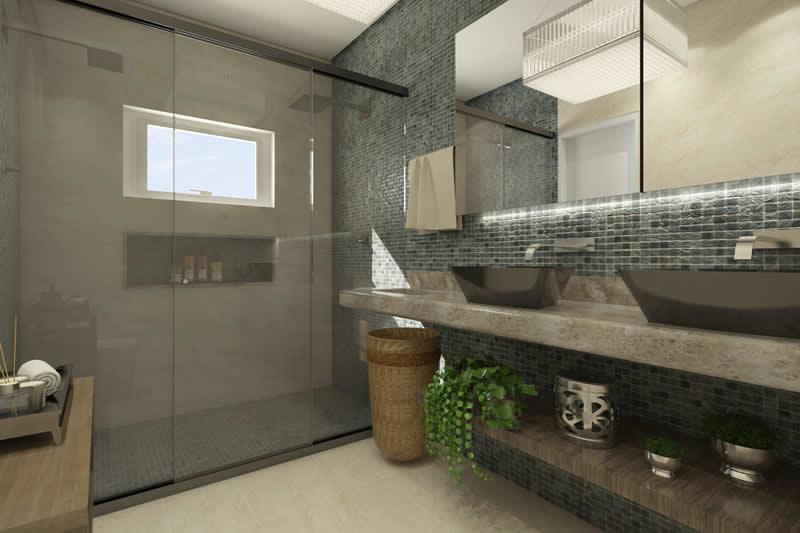 Banheiro com pastilha para suíte