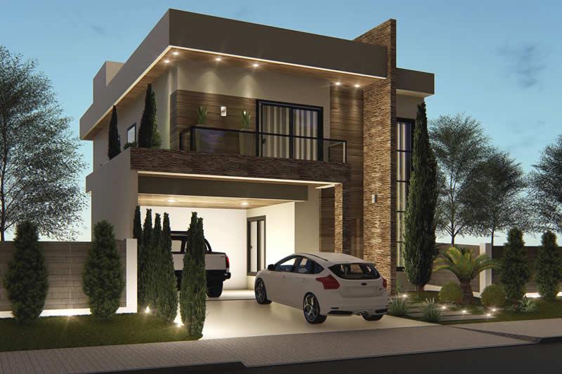 Sobrado com fachada moderna projetos de casas modelos for Frente casa moderna