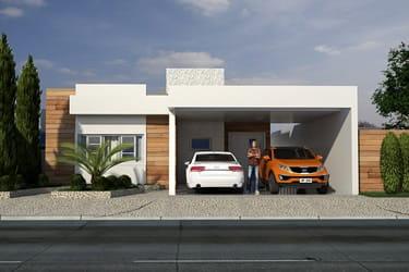 Planta de casa com 2 suites e 1 quarto