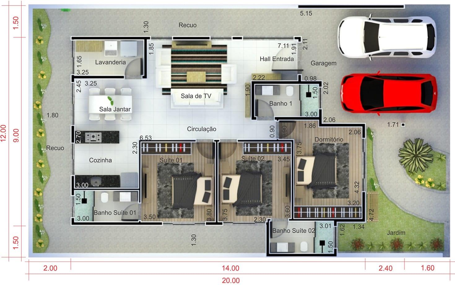 Planta de casa com 2 suites e 1 quarto. Planta para terreno 12x20