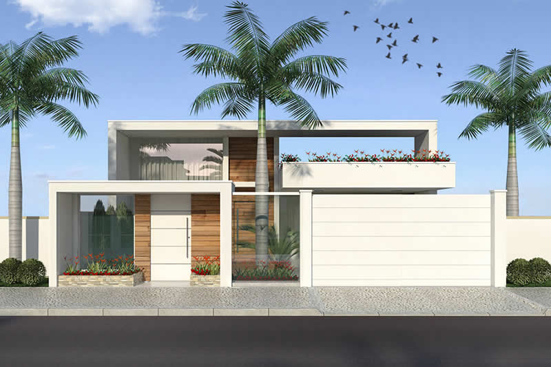 Planta de casa t rrea com 3 su tes projetos de casas for Casa moderna 2 andares 3 quartos