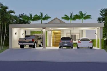 Planta de casa com 3 vagas na garagem