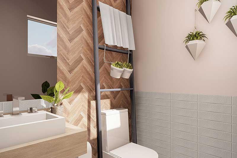 Banheiro da piscina em madeira