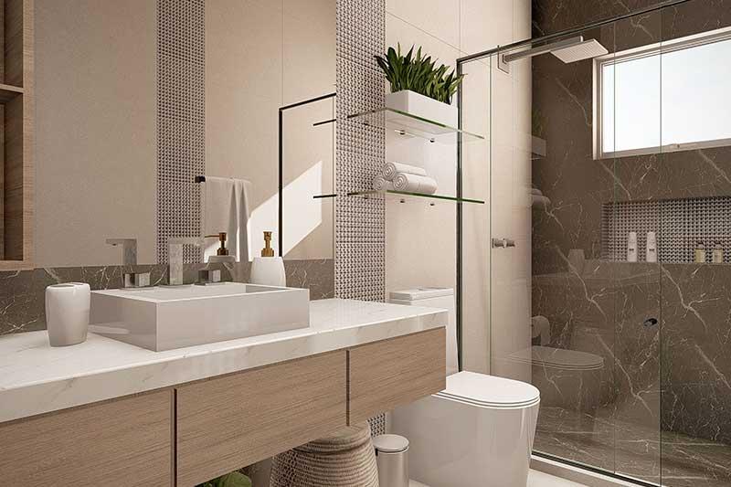 Banheiro compacto e moderno