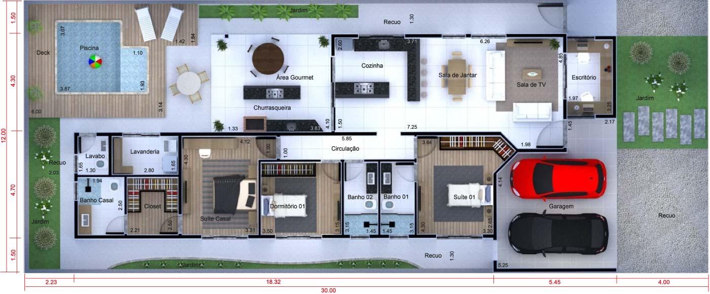 Planta de casa t rrea com escrit rio projetos de casas - Escritorios para casas ...