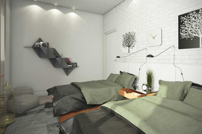 Dormitório duplo com estante
