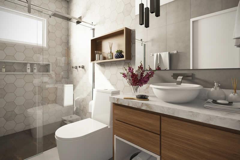 Banheiro com revestimento exclusvio