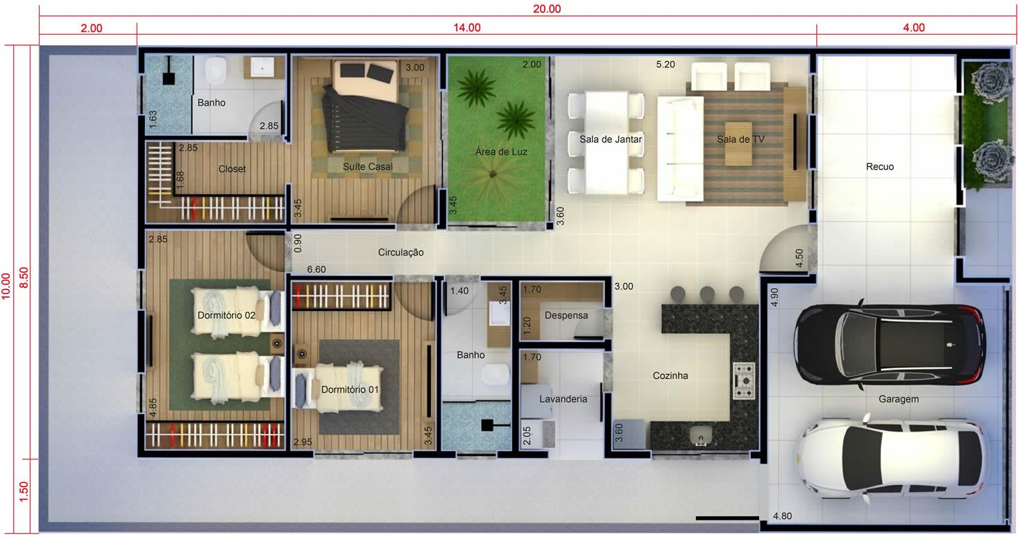 Planta de casa térrea com suite e closet. Planta para terreno 10x20
