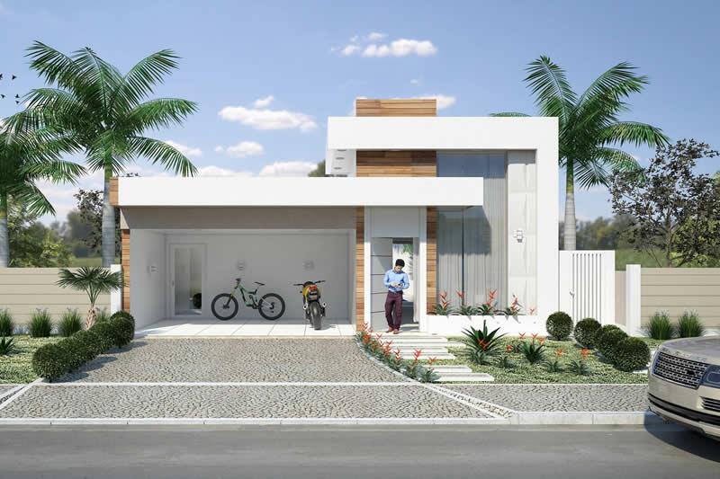 Planta de casa com cozinha integrada projetos de casas for Fachadas de casas modernas de 2 quartos