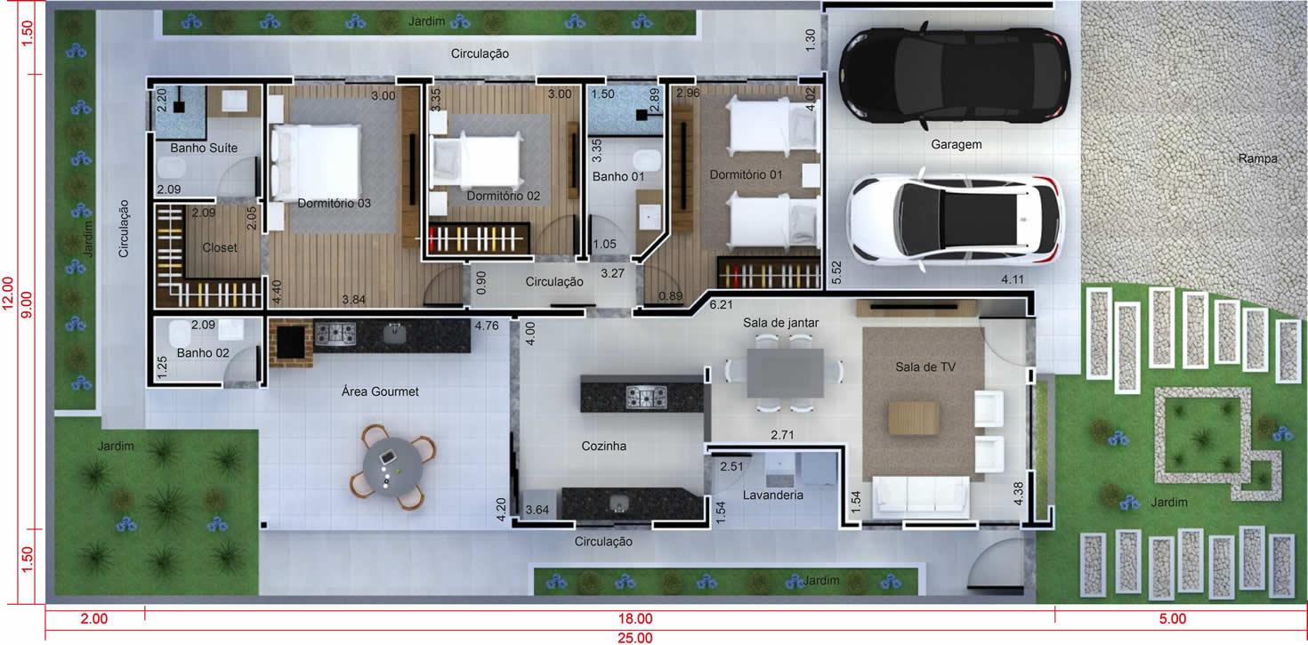 Planta de casa com cozinha integrada. Planta para terreno 12x25