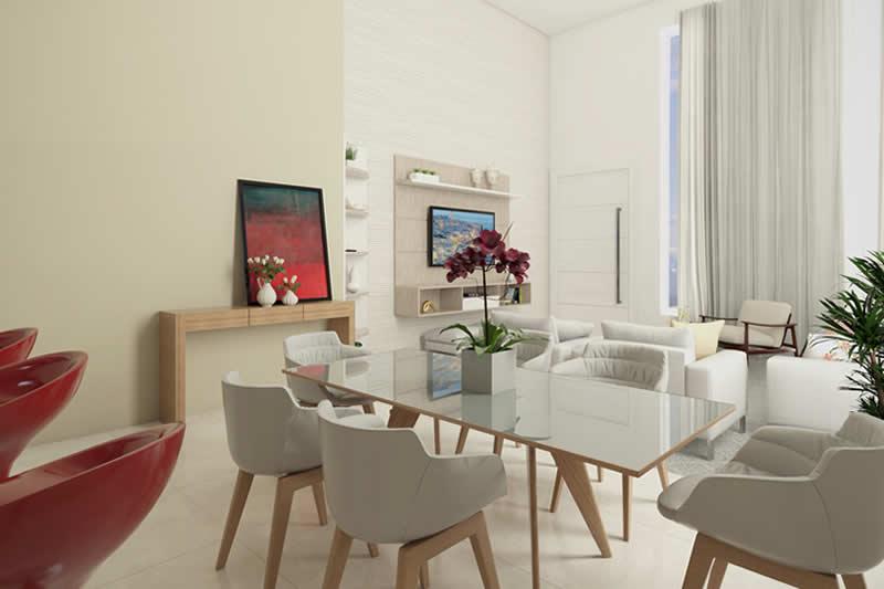 Sala de jantar para 6 lugares integrada