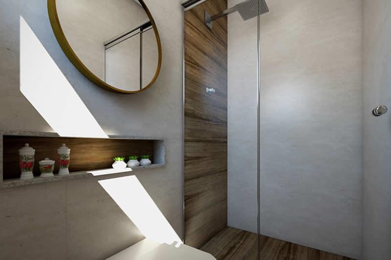 Banheiro externo com madeira