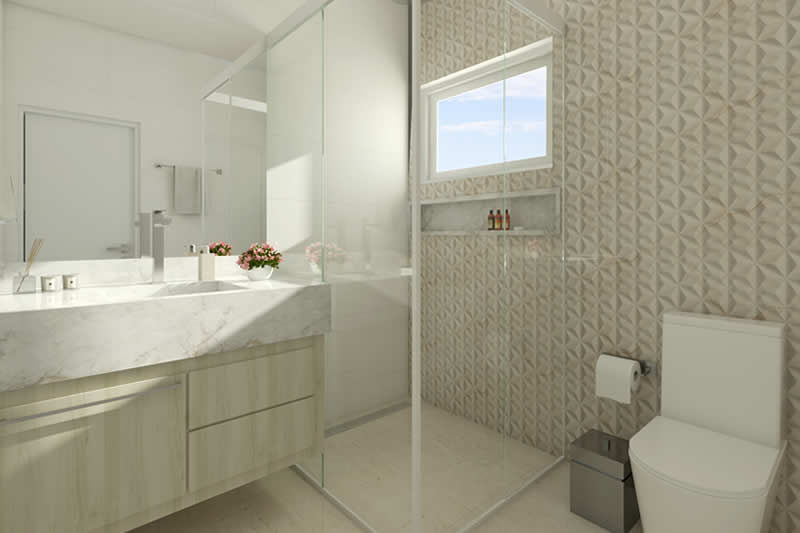 Banheiro de suíte com revestimento