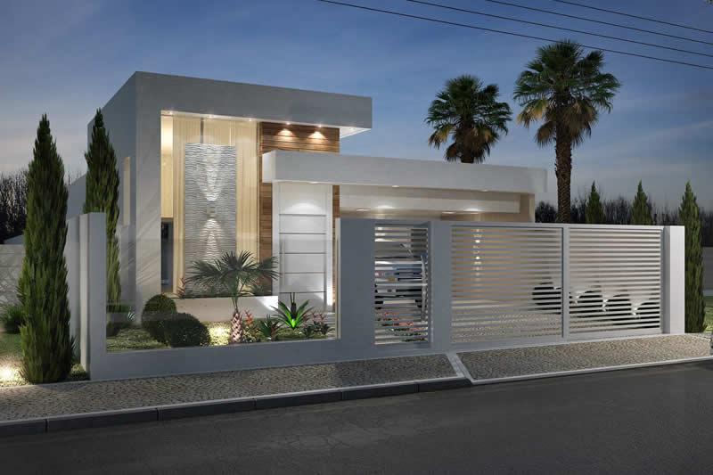 Planta de casa com muro de vidro projetos de casas for Disenos de fachadas de casas pequenas modernas