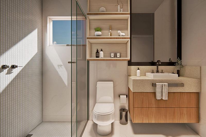 Banheiro neutro com madeira