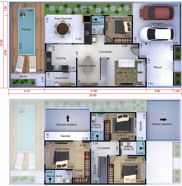 Planta de sobrado com 4 quartos projetos de casas for Casas modernas 10 x 20