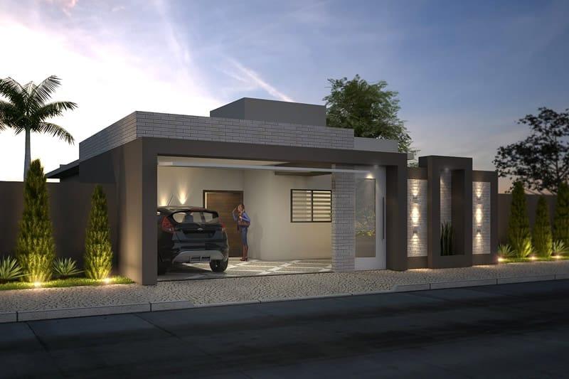 Casa com garagem e muro de vidro