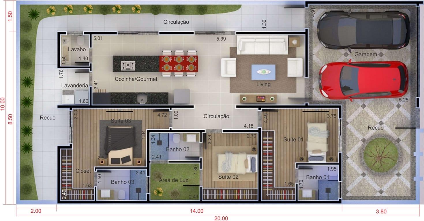 Plantas de casas terreas com 3 quartos terreno 10x20 de42 for Casa moderna 10 x 20