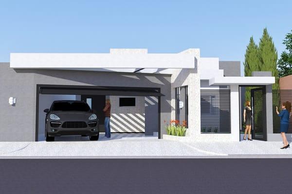Planta de casa moderna com rea gourmet projetos de for Casa moderna 1 11 2