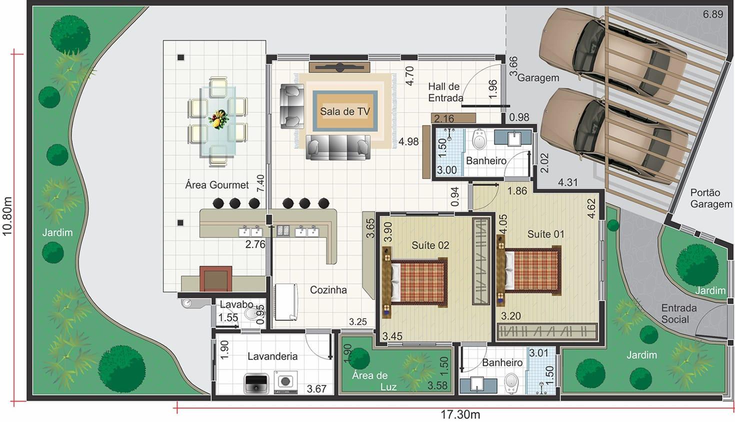 Planta De Casa Moderna Com Rea Gourmet Projetos De Casas Modelos