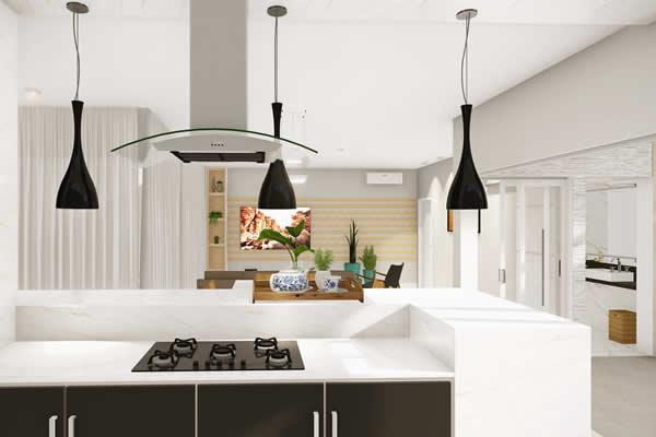 Cozinha integrada decorada