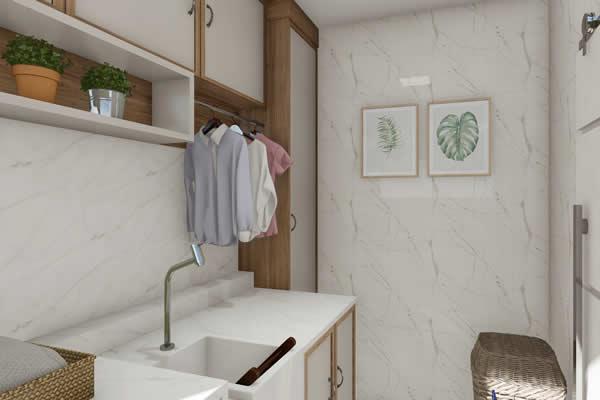Lavanderia com armários de madeira