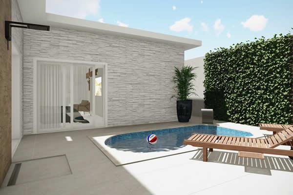 Planta de casa térrea com piscina