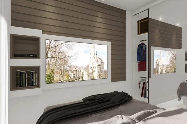 Quarto com nicho e painel de madeira