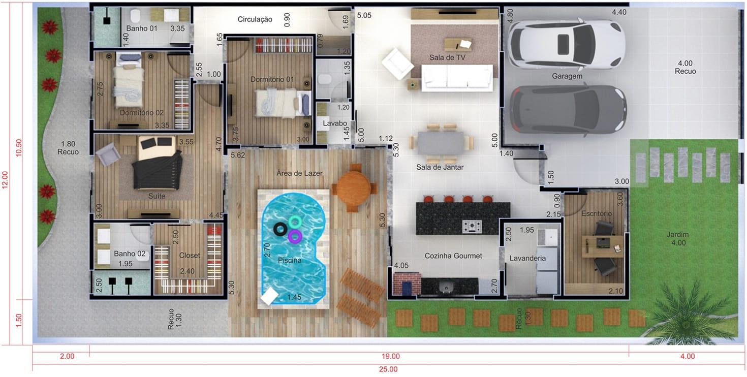 Planta de casa t rrea com piscina projetos de casas for Piscina en jardin de 100 metros
