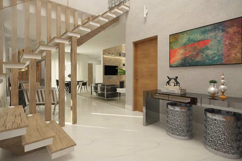 Escada de madeira vazada